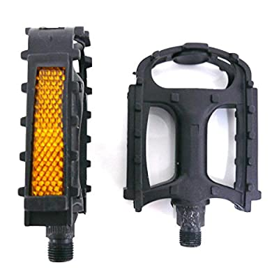 """Pair of Black Plastic Resin 9/16"""" Bike Pedals (Fit Most Adult Bikes Mountain Road and Hybrid Bicycles) by Wellgo"""
