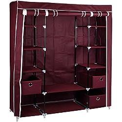 GR8casa Grande Lienzo Dormitorio Armario con Barra para Colgar estantes Armario de Almacenamiento de Ropa, de Metal/Tela, Rojo, 135x 45x 175cm