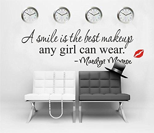 Ufengke adesivi murali motivazionali citazioni a smile is the best makeup adesivi muro parole lettere di marilyn monroe diy vinile decorazione parete per camera da letto soggiorno