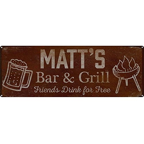 Personalisierte Grill Schild ~ Ihren Namen Bar & Grill Friends Drink für frei ~ 15,2 x 40,6 cm 24-gauge Stahl ~ Bar Accessoires Wand- und Dekorationen ~ USA Made ~ BBQ Rustikal Vintage Used-Optik matt