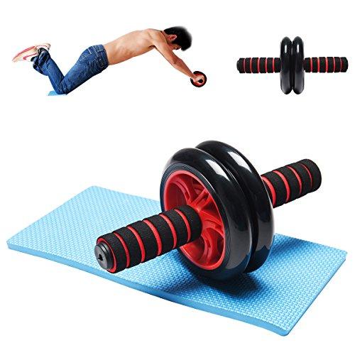 RMAN Bauchtrainer Roller AB Wheel Bauchroller Bauchmuskeltrainer Fitnessgerät mit Knie Pad