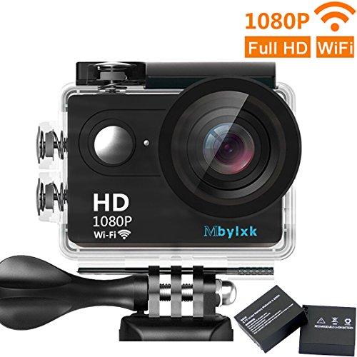 Mbylxk Action Kamera WiFi 1080P Sports Cam Full HD 2,0 Zoll Bildschirm 30m Wasserdichte 170 ° Weitwinkel mit Zubehör Kits für Fahrrad Motorrad Tauchen Schwimmen usw(schwarz)