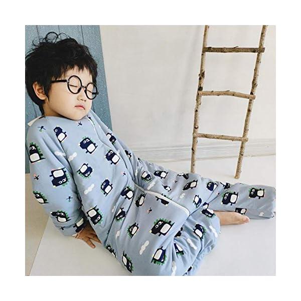 Saco de Dormir Acolchado de Algodón,Saco de Dormir de algodón para otoño e Invierno, Saco de Dormir para niños de Pierna Engrosada, Azul Claro_S,Bolsa de Descansa para Bebé