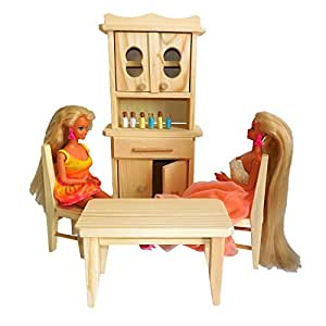Children's Natural Pine Wooden Toy Kitchen For Dolls and Barbie Dolls