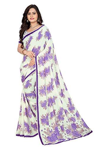 Jaanvi Fashion Women's Georgette Printed Saree (Purple)