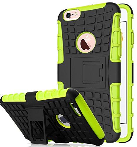 Apple Iphone 6 / 6S Hülle, Nnopbeclik Hybrid 2in1 TPU+PC Schutzhülle Cover Case Silikon Rüstung Armor Dual Layer Muster Handytasche Backcover [Anti-Slip] [Anti-Shock] 360-Grad-Drehung ständer stoßfest Grau