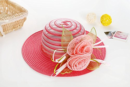 ZHANGYONG*Tappo di bambino Bambini Estate Bambini Stetson Visiera solare spiaggia outdoor cap cappello di paglia fisherman cap) , (54cm cocomero rosso