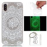 Hülle Leuchtende iPhone X Silikon Etui Handy Hülle Weiche Transparente Luminous TPU Back Case Tasche Schale Leuchten In Der Nacht Für Apple iPhone X + Schlüsselanhänger (P) (7)