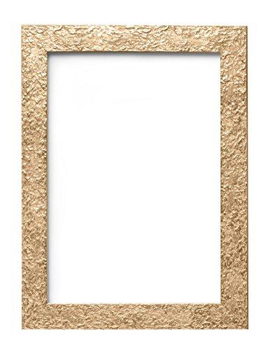 textured-flat photo/cadre photo – avec un panneau arrière en MDF – Prêt à être suspendu ou à posé avec support – avec une grande Clarté styrène incassable Feuille en Perspex, Bois dense, doré, A4