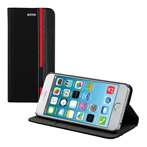 kwmobile Housse flip étui pour Apple iPhone 6 / 6S avec Design bandes interrompues - cuir synthétique Smartphone poche housse de protection en noir rouge bandes interrompues noir rouge