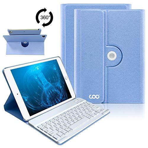 Coque Clavier AZERTY iPad 9.7, Clavier Étui Clavier pour iPad 2018/2017, iPad Pro 9.7, iPad Air 2/1, Clavier Bluetooth sans Fil Rotatif 360 Housse Ultra-Mince Automatique Sommeil-Réveil (Bleu Ciel)