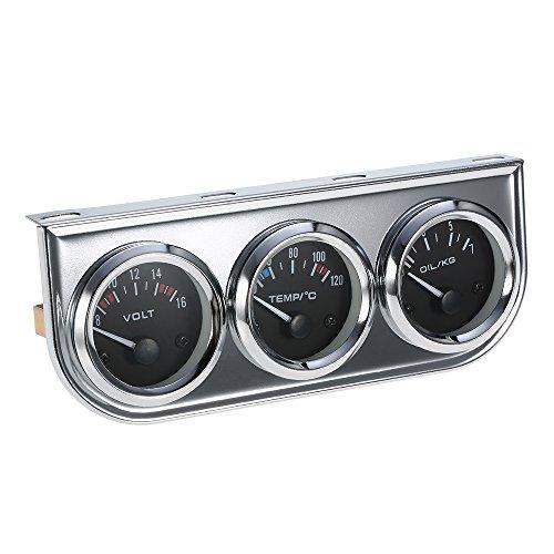 KKmoon 52 MM Öldruck Celsius Wassertemperaturanzeige Voltmeter Chrom 3 in 1 Messgerät Kit Auto Motorrad Meter (Auto Voltmeter Messgerät)