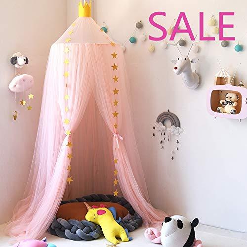Nibesser Baldachin für Kinder/Babys 100% Polyester Gewebe Romantischer Betthimmel Moskitonetz Kinderbett für Kinderzimmer Hohe 240cm (Rosa)