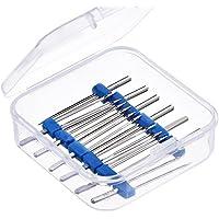 Caja de plástico con 12 agujas dobles para máquina de coser (tres tamaños diferentes: 2/90, 3/90 y 4/90)