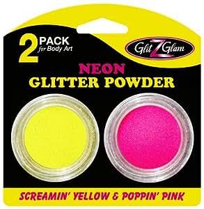 Pack de 2 pots de brillantine couleur Néon Poppin' Pink et Screamin' Yellow