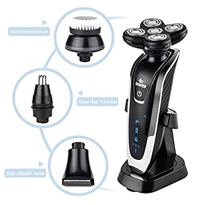 Electric Rotary Shavers, VigoRise 5 Head Razor 4D Cordless USB Rechargeable IPX7 Waterproof Men's Electric Shaver, Hair Clippers Removal Nose Hair Trimmer and Facial Cleansing Brush for Men Woman by VigoRise