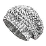 Kuschelig weiche Damen Kaschmir Mütze aus 100% Kaschmir Wolle in 5 Farben - Hochwertige Winter Strickmütze/Long Beanie Wollmütze von HansaFarm - Hellgrau/Grau
