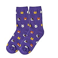 Tangbasi Cartoon Cats Women Girls Socks Breathable Cotton Ankle Socks for Autumn Winter