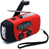 ANTOPM Solar Emergency Hand Crank AM/FM NOAA Weather Radio Self Battery Powered Hand CrankedAlert Radio LED Flashlight 1000mAh Power Bank Phone Charger With USB Cable