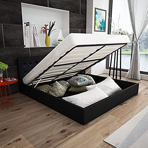 Anself Double Storage Ottoman Bed Frame Gas Lift UP 4FT6 Artificial Leather Black