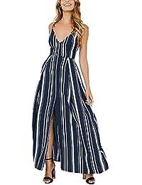 Donna Vestito Lungo Elegante Moda Stripe Vestito Estivi Smanicato V Ragazze  Giovane Collo Senza Schienale Fionda 070c9b08fef