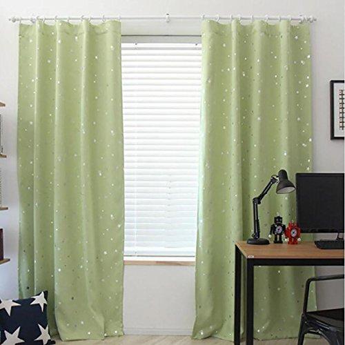 LCLrute 190cm x 100cm Vorhang Vorhang Sternenhimmel Vorhang Tüll Fensterbehandlung Voile Drape Valance 1 Panel Fabric (Grün)
