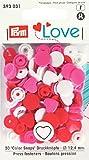 """Herz Form Nähfreie """"Color Snaps"""" Druckknöpfe in Herzform von PrymLove, Kunststoff, rot/weiß/hell rosa, 30 Stück"""