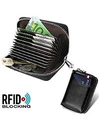 Tarjetero para Tarjetas de Crédito para Hombre Mujer RFID Titular de la Tarjeta de Crédito de Cuero con 11 Ranuras para Tarjetas y 2 Ranuras de Moneda Carteras Monederos con Cremallera