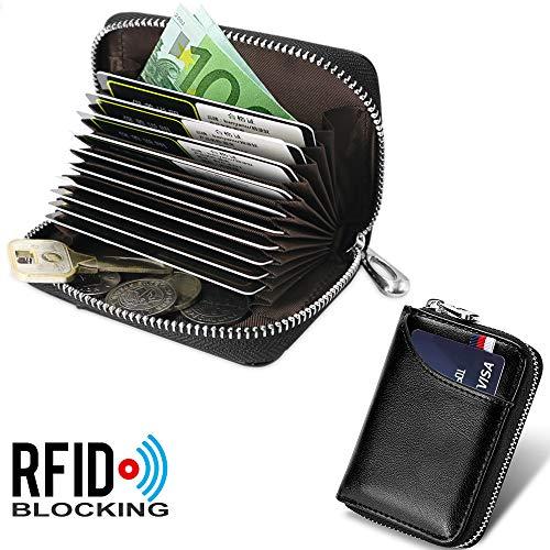 5e8ca73fd15d69 Porta Carte di Credito per Donna Uomo Genuino del Titolare della Carta di  Credito in Pelle RFID con 11 Ranuras para Tarjetas e 2 Compartimenti per  Banconote ...