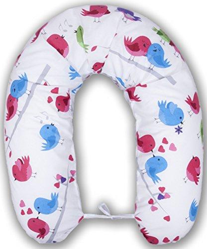 XXL Housse pour coussin d'allaitement Coussin Baby Long Coussin de positionnement latéral 170 cm Motif petits oiseaux Blanc