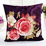 Tpulling Cotton Soft Delicate Toile Cushion Cover Peony Printing and Dyeing Pillow Cover Sofa Pillow Case Décor purple