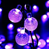 lederTEK Solar Powered Waterproof Fairy String Lights 20ft 30 LED 2 Modes Crystal Globe Christmas Decorative Lamp for Outdoor, Garden, Home, Wedding, Xmas New Year Party (30 LED Purple)