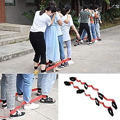 Idea Regalo - crayfomo Gioco da esterno a tre zampe a zampe da corsa per bambini Compleanno per adulti (4 persone (ROSSO))