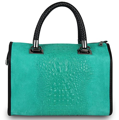 Made in italy sac à main pour femme turquoise cube nubuck alligator croco