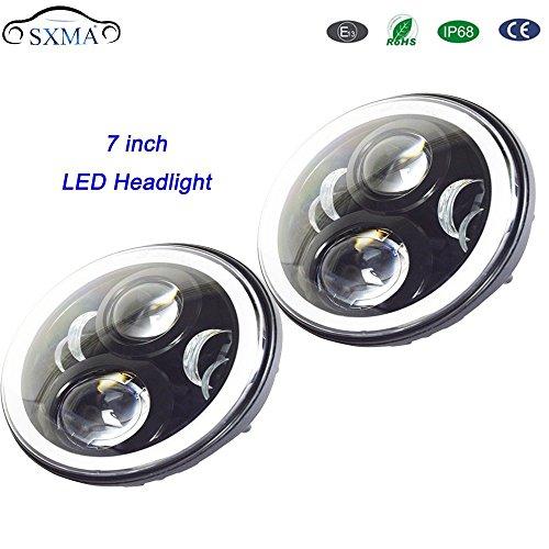 SXMA 17,8 cm Noir Rond 50 W LED Phare Projecteur Hi/Lo Faisceau H4/H13 Adaptateur de Tour de Signal DRL Halo Bague &;il d'ange (2 pcs)