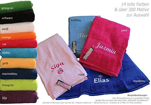 GiO-Shop * Sonderanfertigung mit Stickerei Duschtuch, Badetuch 70x140 mit Namen/Motiv bestickt (14 Farben zur Auswahl)