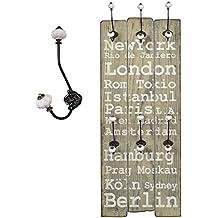 """Perchero Recibidor """"London"""" con ganchos Madera 100 x 40 cm Estilo Shabby Vintage Alquería"""