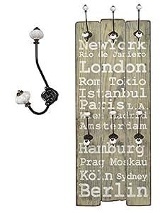 "Garde-robe/portemanteau ""London"" en bois 100 x 40 avec crochets en métal – style vintage/shabby"