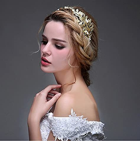 Handmade Wedding Bridal Headband by OUMOU Vintage Gold Leaf Themed Princess Crown Delicate and Attractive Queen Decor Hair Accessories for Women and Girls 1 Piece - Adjustable Leaf Hair band
