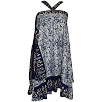 Mogul Interior Womens Magic Wrap Skirt Premium Reversible Silk Sari Boho Beach Halter Dress
