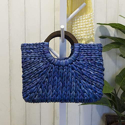 Blau Stroh Handtaschen (WOKJBGE Rattan Tasche Stricken Dekoration Frauen Rattan Handtasche weiblichen Sommer Strand Stroh Taschen Dame weben Tasche handgemachte beiläufige große Tote blau)