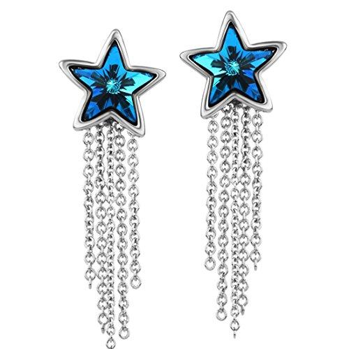 Neoglory Jewellery mit Swarovski® Elements Ohrringe Stern hängend blau (Kostüm Schmuck Troddel Halskette)