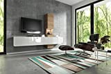 Wuun Wohnwand Schrankwand Anbauwand Tv-Board Muro in weiß - Hochglanz & Naturtöne/2-4 Werktage Lieferzeit/(260x185x40)/Sonoma-Eiche, Ohne Beleuchtung