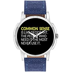 Wrist Watch For Men - Common Sense is like Deodorant | Funny Quote - Analog Men's And Boy's unique quartz leather band round designer dial watch