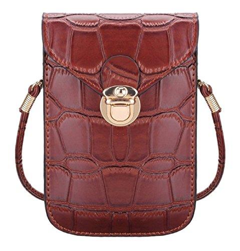 Elegante kleine Damen-Handtasche | Schultertasche | Kosmetiktasche | Handytasche in Krokoleder-Optik (PU-Kunstleder) (Braun)