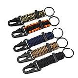 5 piezas Paracord llavero Clip anillo cordón trenzado con mosquetón y pedernal para hombres mujeres acampar al aire libre senderismo (5 colores)
