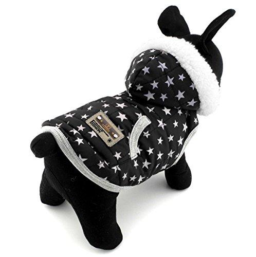 dung für Welpen, Kätzchen, kleine Hunde, Winterjacke mit Fleecefutter und Kapuze, Kostüm, Schwarz (Chihuahua-kostüme Für Halloween)
