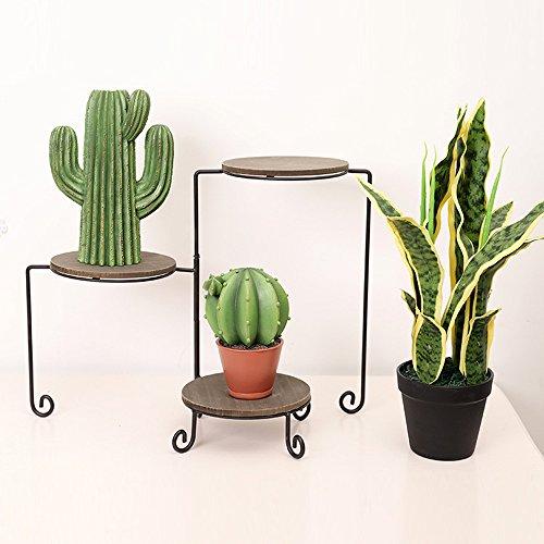 Blumenregal mit 3 Fächer, BAFFECT Metallischer Blumenständer mit 3 Ablagen Klappbarer Blumentreppe mit Holzplatte Pflanzenregale mit 3 Ebenen Schwarz
