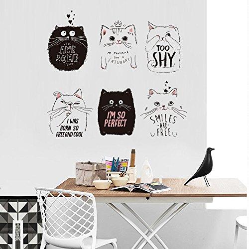 ier Wand Aufkleber Schön Schwarz Weisse Katze Pink Pig Schmetterling Kinderzimmer Mädchen Jungen Schlafzimmer Dekor Aufkleber Kitty Wallpaper ()