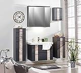 Badeinrichtung, Badezimmereinrichtung, Badmöbel, Komplettset, Badezimmer, modern, grau, Spiegelschrank, Waschtisch, Waschbeckenunterschrank, LED